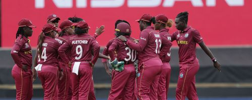 Stafanie Taylor of the West Indies celebrates after taking the wicket of Sornnarin Tippoch of Thailand during the ICC Women's T20 Cricket World Cup match between the West Indies and Thailand at WACA on February 22, 2020 in Perth, Australia.