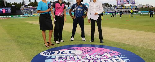 Sophie Devine of New Zealand and Chamari Athapaththu of Sri Lanka looks on before the coin toss prior to during the ICC Women's T20 Cricket World Cup match between the West Indies and Thailand at WACA on February 22, 2020 in Perth, Australia.