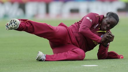 Lee-Ann Kirby of the West Indies takes a catch to dismiss Nannapat Koncharoenkai of Thailand during the ICC Women's T20 Cricket World Cup match between the West Indies and Thailand at WACA on February 22, 2020 in Perth, Australia.