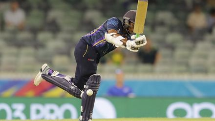 Hasini Madushika of Sri Lanka bats during the ICC Women's T20 Cricket World Cup match between New Zealand and Sri Lanka at WACA on February 22, 2020 in Perth, Australia.