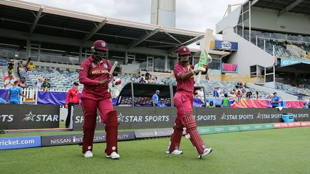 Lee-Ann Kirby and Hayley Matthews of the West Indies walk out to bat during the ICC Women's T20 Cricket World Cup match between the West Indies and Thailand at WACA on February 22, 2020 in Perth, Australia.