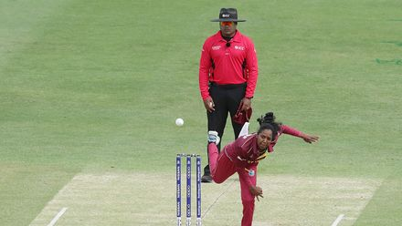 Afy Fletcher of the West Indies bowls during the ICC Women's T20 Cricket World Cup match between the West Indies and Thailand at WACA on February 22, 2020 in Perth, Australia.
