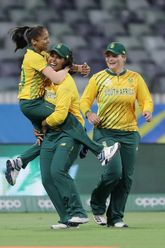 Shabnim Ismail of South Africa celebrates after taking a catch to dismiss Heather Knight of England during the ICC Women's T20 Cricket World Cup match between England and South Africa at WACA on February 23, 2020 in Perth, Australia.