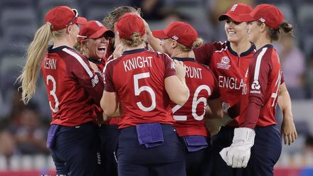 Lauren Winfield of England celebrates after taking the wicket of Lizelle Lee of South Africa during the ICC Women's T20 Cricket World Cup match between England and South Africa at WACA on February 23, 2020 in Perth, Australia.