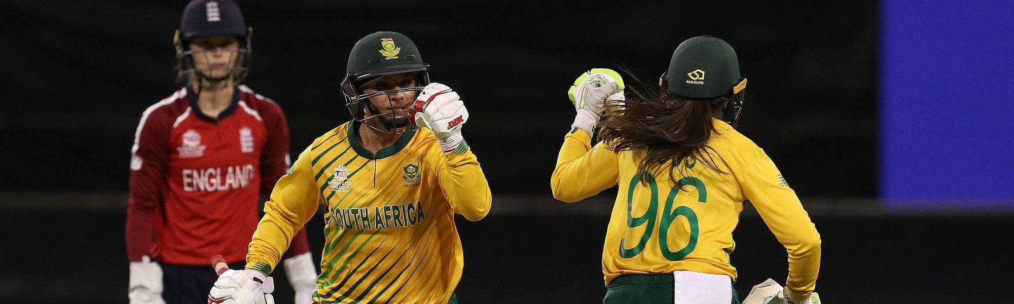 Mignon du Preez of South Africa and Sune Luus of South Africa celebrate after scoring the winning runs during the ICC Women's T20 Cricket World Cup match between England and South Africa at the WACA on February 23, 2020 in Perth, Australia.