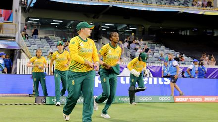 South Africa run out to field during the ICC Women's T20 Cricket World Cup match between England and South Africa at WACA on February 23, 2020 in Perth, Australia.
