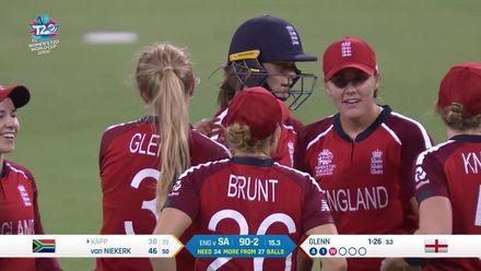 WT20WC: Eng v SA – Sarah Glenn gets Kapp caught and bowled for 38