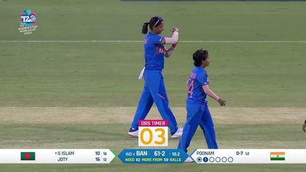 WT20WC: Ind v Ban - India with successful review to take third wicket
