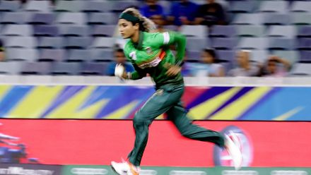 Jahanara Alam of Bangladesh bowls during the ICC Women's T20 Cricket World Cup match between India and Bangladesh at WACA on February 24, 2020 in Perth, Australia.