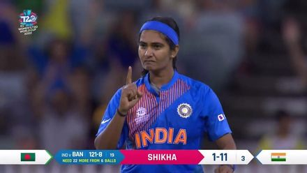WT20WC: Ind v Ban - Shikha Pandey claims her second wicket of the night
