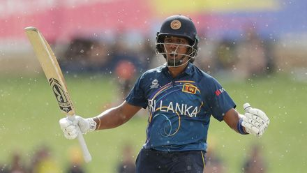 Chamari Athapaththu of Sri Lanka celebrates after reaching her half century during the ICC Women's T20 Cricket World Cup match between Australia and Sri Lanka at WACA on February 24, 2020 in Perth, Australia.