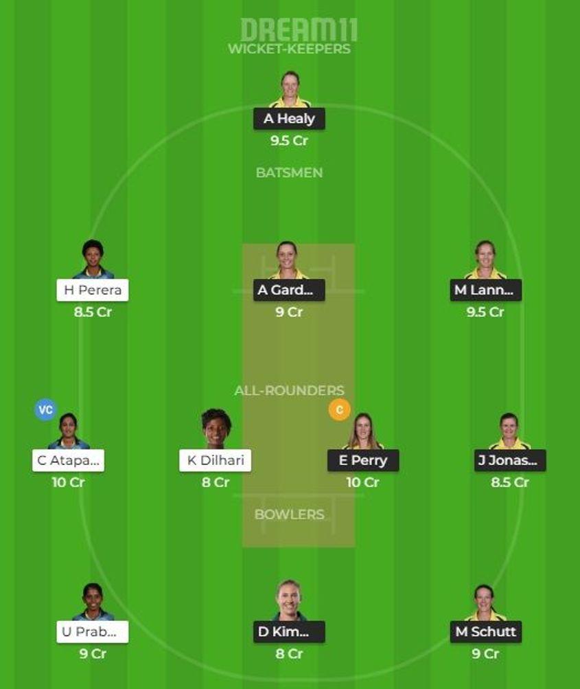 Australia v Sri Lanka Dream 11