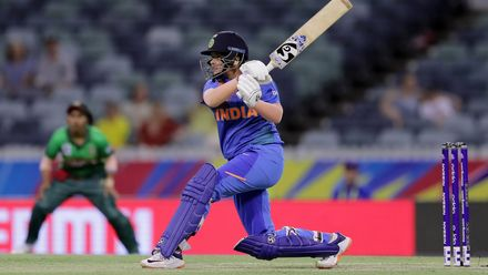 Shafali Verma of India bats during the ICC Women's T20 Cricket World Cup match between India and Bangladesh at WACA on February 24, 2020 in Perth, Australia.