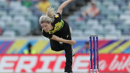 Nicola Carey of Australia bowls during the ICC Women's T20 Cricket World Cup match between Australia and Sri Lanka at WACA on February 24, 2020 in Perth, Australia.