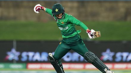 Bismah Maroof of Pakistan celebrates victory after hitting the winning runs during the ICC Women's T20 Cricket World Cup match between the West Indies and Pakistan at Manuka Oval on February 26, 2020 in Canberra, Australia.