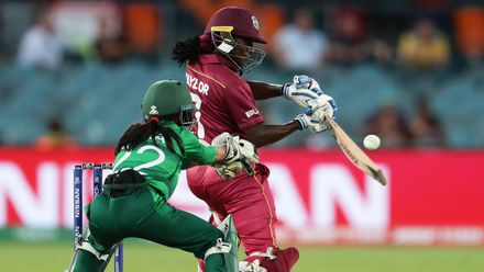 Stafanie Taylor of the West Indies bats during the ICC Women's T20 Cricket World Cup match between the West Indies and Pakistan at Manuka Oval on February 26, 2020 in Canberra, Australia.