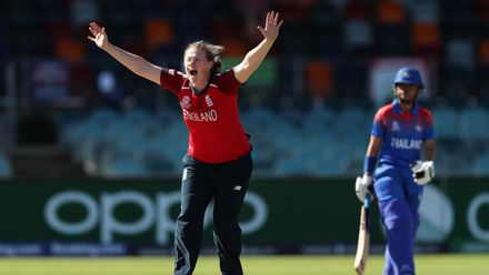 Anya Shrubsole of England appeals successfully for the wicket of Nattaya Boochatham of Thailand during the ICC Women's T20 Cricket World Cup match between England and Thailand at Manuka Oval on February 26, 2020 in Canberra, Australia.