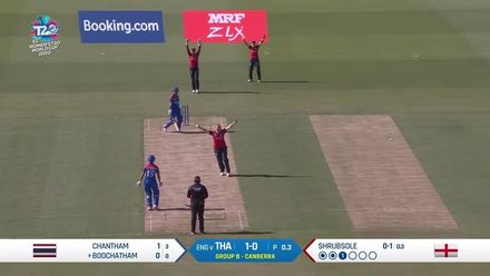 WT20WC: Eng v Tha - Shrubsole removes Boochatham in the first over