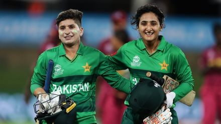 Nida Dar (L) and Bismah Maroof (R) of Pakistan celebrate victory after hitting the winning runs during the ICC Women's T20 Cricket World Cup match between the West Indies and Pakistan at Manuka Oval on February 26, 2020 in Canberra, Australia.