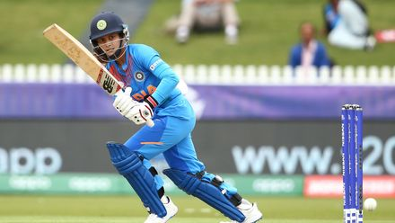 Smriti Mandhana of India bats during the ICC Women's T20 Cricket World Cup match between India and New Zealand at Junction Oval on February 27, 2020 in Melbourne, Australia.