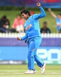 Deepti Sharma of India celebrates after bowling out Suzie Bates of New Zealand during the ICC Women's T20 Cricket World Cup match between India and New Zealand at Junction Oval on February 27, 2020 in Melbourne, Australia.