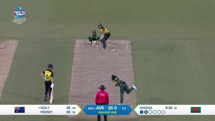 WT20WC: Aus v Ban – Healy reaches fifty with two sixes