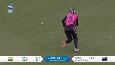 WT20WC: Ind v NZ – Shafali is dropped on 25 by Maddy Green