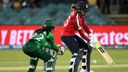 Fran Wilson of England bats during the ICC Women's T20 Cricket World Cup match between England and Pakistan at Manuka Oval on February 28, 2020 in Canberra, Australia.