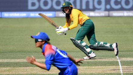 Sune Luus of South Africa bats during the ICC Women's T20 Cricket World Cup match between South Africa and Thailand at Manuka Oval on February 28, 2020 in Canberra, Australia.