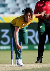 Shabnim Ismail of South Africa bowls during the ICC Women's T20 Cricket World Cup match between South Africa and Thailand at Manuka Oval on February 28, 2020 in Canberra, Australia.