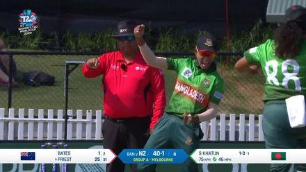 WT20WC: NZ v Ban – Salma Khatun traps Rachel Priest in front for 25