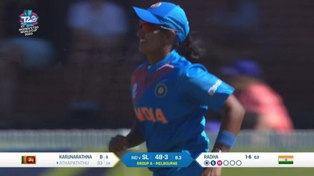 WT20WC: Ind v SL – Athapaththu is caught near the boundary for 33