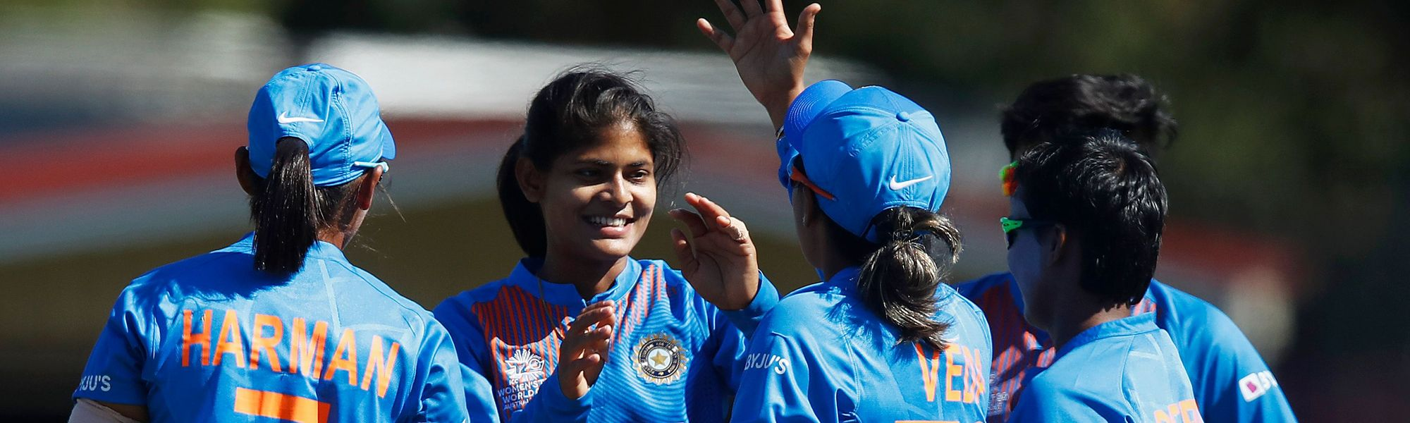 Radha Yadav of India (2L) celebrates with Veda Krishnamurthy of India (C) after combining for the wicket of Hansima Karunarathna of Sri Lanka during the ICC Women's T20 Cricket World Cup match between India and Sri Lanka on February 29, 2020.