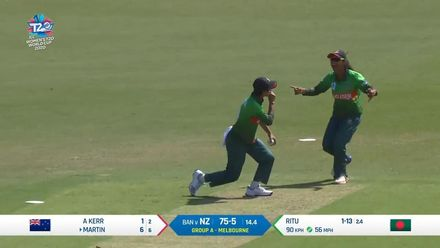 WT20WC: NZ v Ban – Fahima Khatun takes a good catch to dismiss Katey Martin