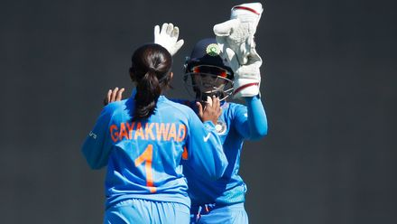 Rajeshwari Gayakwad of India celebrates the wicket of Harshitha Madhavi of Sri Lanka during the ICC Women's T20 Cricket World Cup match between India and Sri Lanka at Junction Oval on February 29, 2020 in Melbourne, Australia.