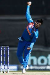 Deepti Sharma of India bowls during the ICC Women's T20 Cricket World Cup match between India and Sri Lanka at Junction Oval on February 29, 2020 in Melbourne, Australia.