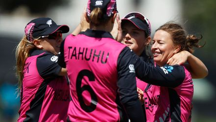 New Zealand celebrate the wicket of Ayasha Rahman of Bangladesh during the ICC Women's T20 Cricket World Cup match between New Zealand and Bangladesh at Junction Oval on February 29, 2020 in Melbourne, Australia.