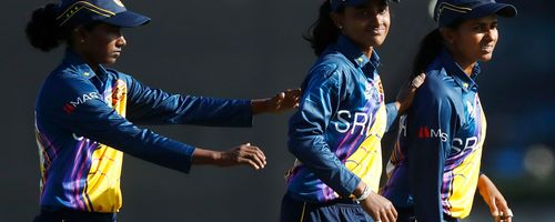 Sri Lanka celebrate a wicket during the ICC Women's T20 Cricket World Cup match between India and Sri Lanka at Junction Oval on February 29, 2020 in Melbourne, Australia.
