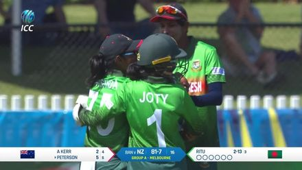WT20WC: NZ v Ban – Peterson becomes  Ritu Moni's fourth victim