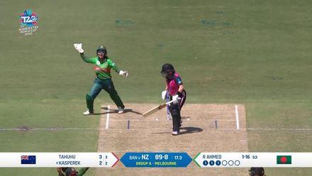 WT20WC: NZ v Ban – Leigh Kasperek gets caught behind