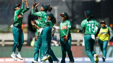 Bangladesh celebrate the wicket of Sophie Devine of New Zealand during the ICC Women's T20 Cricket World Cup match between New Zealand and Bangladesh at Junction Oval on February 29, 2020 in Melbourne, Australia.