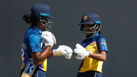 Chamari Athapaththu of Sri Lanka (L) and Harshitha Madhavi of Sri Lanka touch gloves during the ICC Women's T20 Cricket World Cup match between India and Sri Lanka at Junction Oval on February 29, 2020 in Melbourne, Australia.