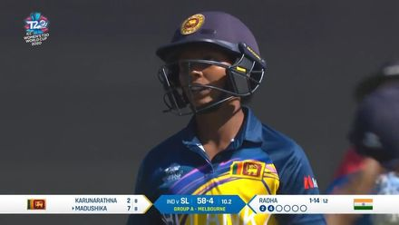 WT20WC: Ind v SL – Hasini Madushika is caught behind for 7