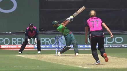 WT20WC: NZ v Ban – Sobhana Mostary is caught by Suzie Bates