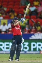 Natalie Sciver of England celebrates reaching her half century during the ICC Women's T20 Cricket World Cup match between England and West Indies at Sydney Showgrounds on March 01, 2020 in Sydney, Australia.