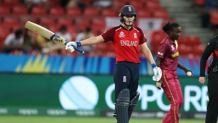 Natalie Sciver of England celebrates her half century during the ICC Women's T20 Cricket World Cup match between England and West Indies at Sydney Showground Stadium on March 01, 2020 in Sydney, Australia.