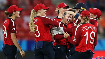 Mady Villiers of England celebrates with her team mates after taking the wicket of Shemaine Campbelle of West Indies during the ICC Women's T20 Cricket World Cup match between England and West Indies at Sydney Showground Stadium on March 01, 2020.