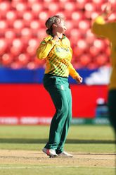 Dane Van Niekerk of South Africa celebrates taking the wicket of Nida Dar of Pakistan during the ICC Women's T20 Cricket World Cup match between South Africa and Pakistan at Sydney Showground Stadium on March 01, 2020 in Sydney, Australia.