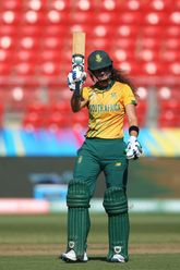Laura Wolvaardt of South Africa celebrates her half century during the ICC Women's T20 Cricket World Cup match between South Africa and Pakistan at Sydney Showground Stadium on March 01, 2020 in Sydney, Australia.
