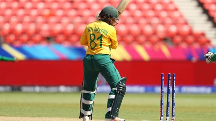 Dane Van Niekerk of South Africa looks back at her stumps after being bowled during the ICC Women's T20 Cricket World Cup match between South Africa and Pakistan at Sydney Showground Stadium on March 01, 2020 in Sydney, Australia.